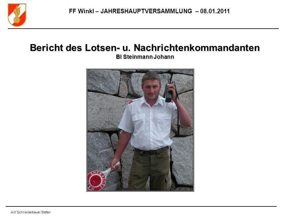 FF Winkl – JAHRESHAUPTVERSAMMLUNG – 08.01.2011 AW Schneiderbauer Stefan Bericht des Lotsen- u.