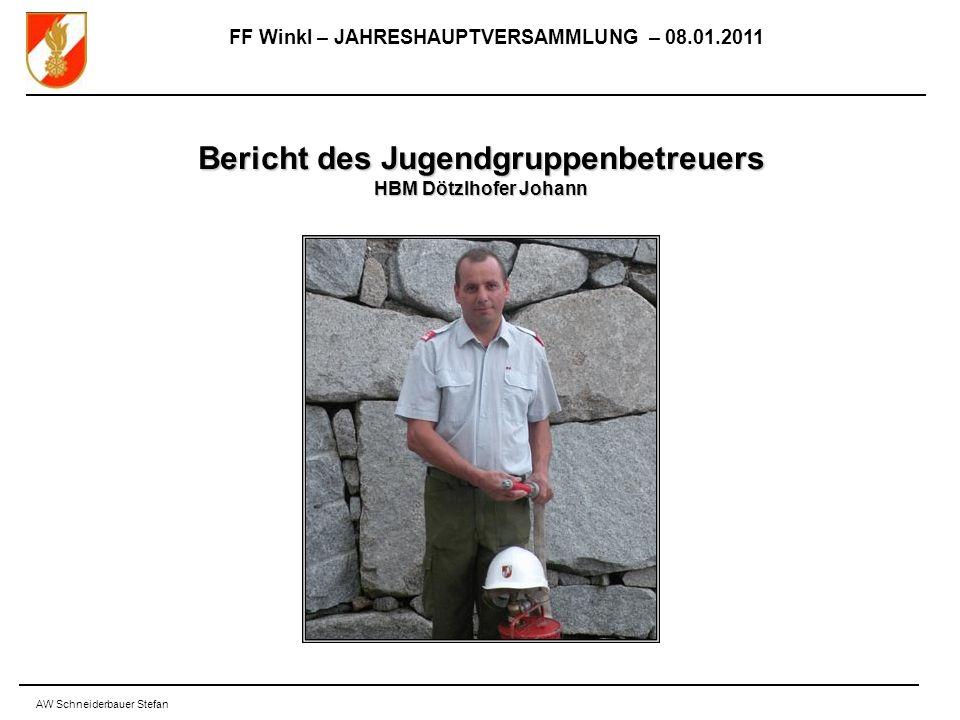 FF Winkl – JAHRESHAUPTVERSAMMLUNG – 08.01.2011 AW Schneiderbauer Stefan Bericht des Jugendgruppenbetreuers HBM Dötzlhofer Johann