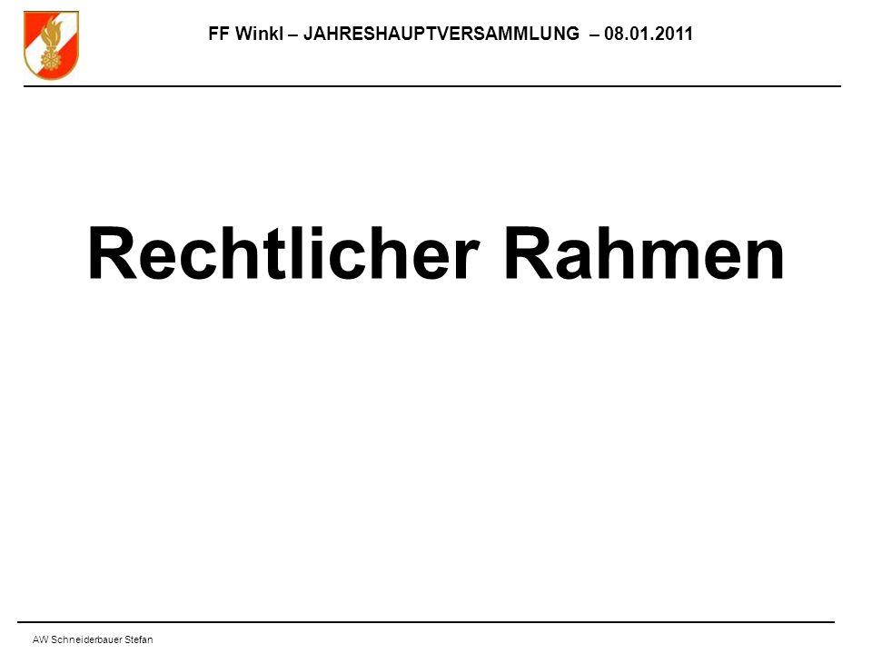 FF Winkl – JAHRESHAUPTVERSAMMLUNG – 08.01.2011 AW Schneiderbauer Stefan Rechtlicher Rahmen