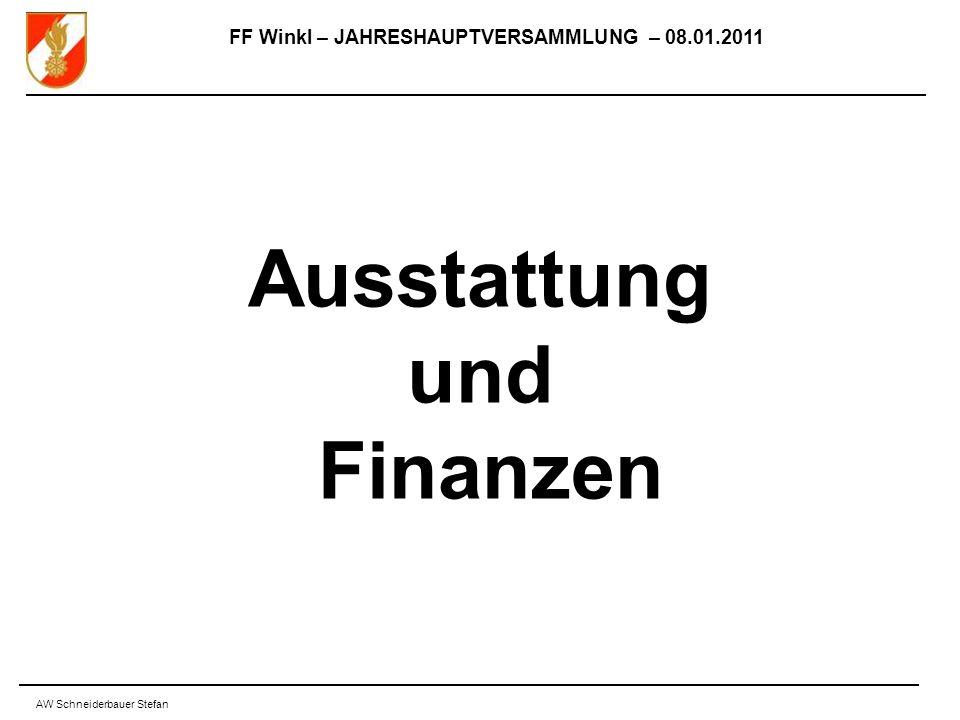 FF Winkl – JAHRESHAUPTVERSAMMLUNG – 08.01.2011 AW Schneiderbauer Stefan Ausstattung und Finanzen