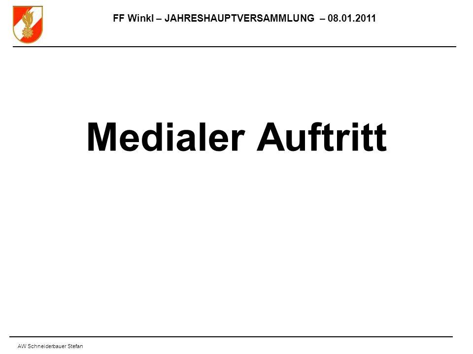 FF Winkl – JAHRESHAUPTVERSAMMLUNG – 08.01.2011 AW Schneiderbauer Stefan Medialer Auftritt