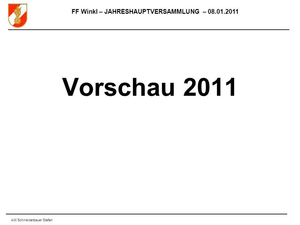FF Winkl – JAHRESHAUPTVERSAMMLUNG – 08.01.2011 AW Schneiderbauer Stefan Vorschau 2011