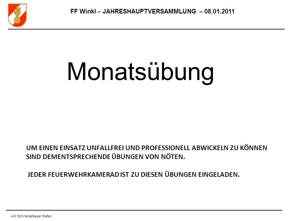 FF Winkl – JAHRESHAUPTVERSAMMLUNG – 08.01.2011 AW Schneiderbauer Stefan UM EINEN EINSATZ UNFALLFREI UND PROFESSIONELL ABWICKELN ZU KÖNNEN SIND DEMENTSPRECHENDE ÜBUNGEN VON NÖTEN.