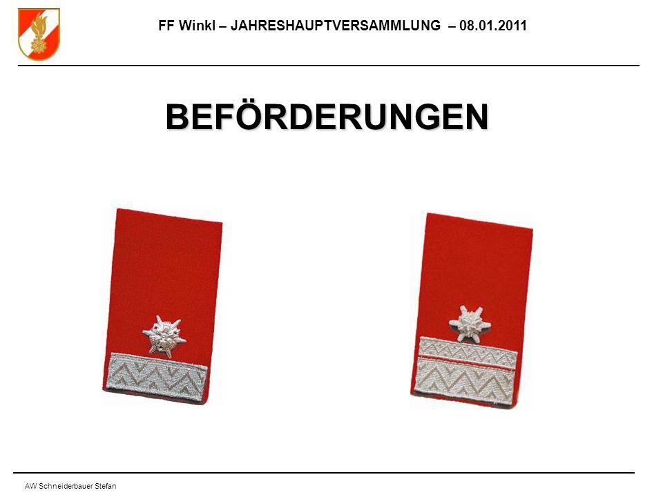FF Winkl – JAHRESHAUPTVERSAMMLUNG – 08.01.2011 AW Schneiderbauer Stefan BEFÖRDERUNGEN