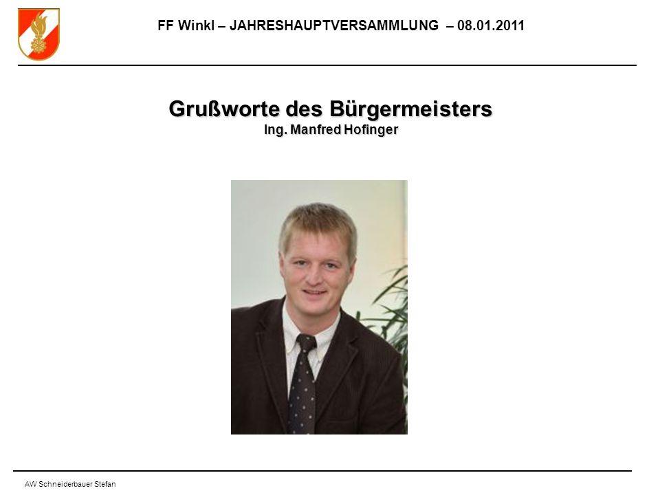 FF Winkl – JAHRESHAUPTVERSAMMLUNG – 08.01.2011 AW Schneiderbauer Stefan Grußworte des Bürgermeisters Ing.