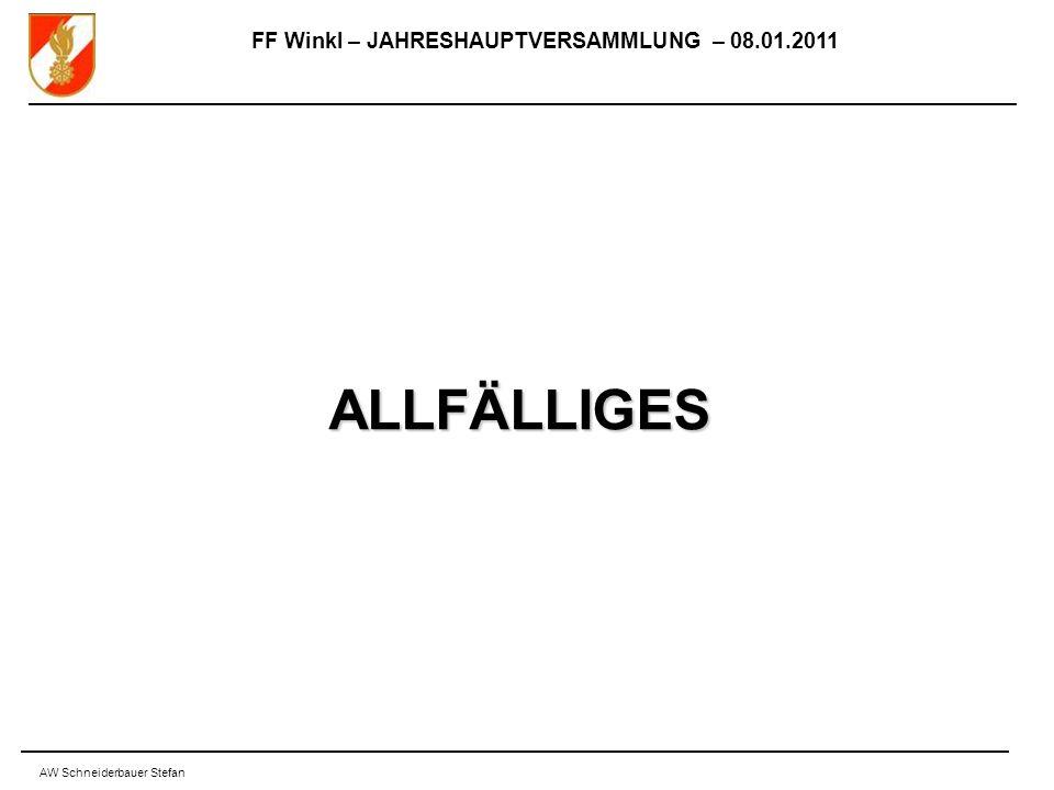 FF Winkl – JAHRESHAUPTVERSAMMLUNG – 08.01.2011 AW Schneiderbauer Stefan ALLFÄLLIGES