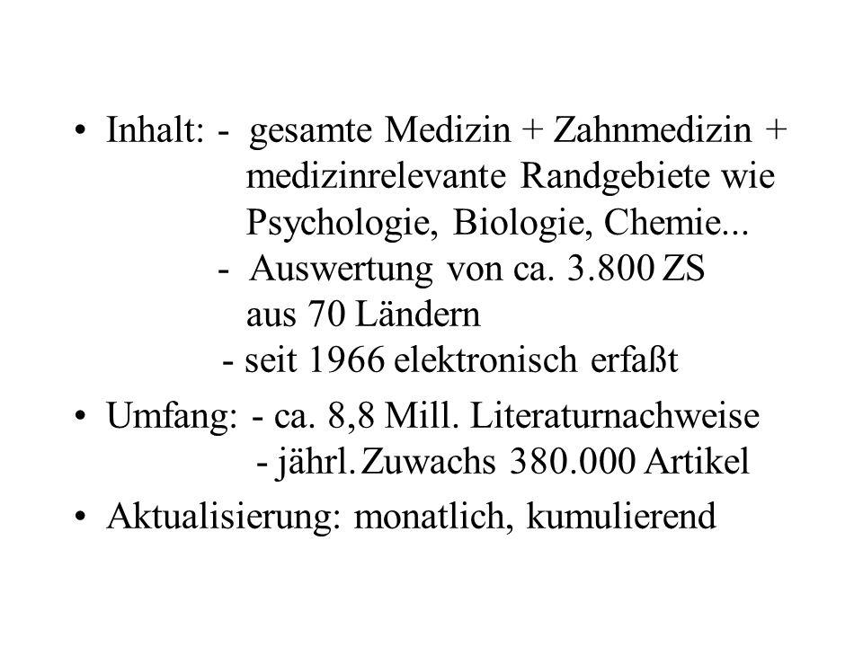 Inhalt:- gesamte Medizin + Zahnmedizin + medizinrelevante Randgebietewie Psychologie, Biologie, Chemie...