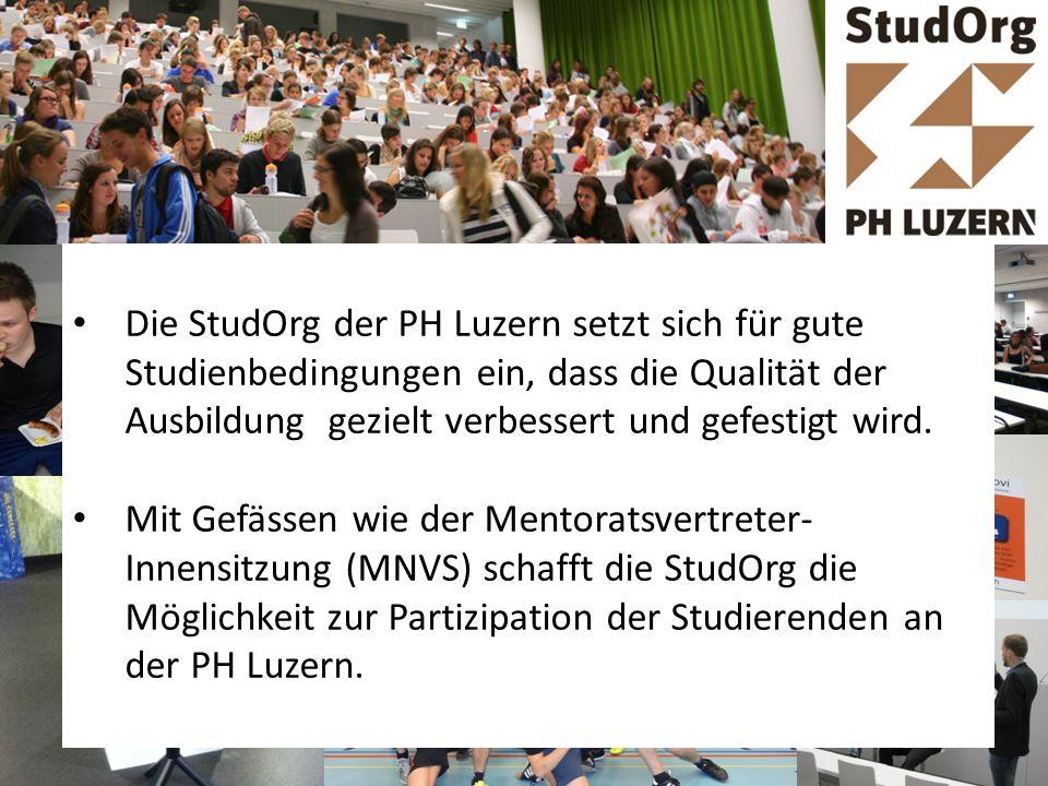 Die StudOrg der PH Luzern setzt sich für gute Studienbedingungen ein, dass die Qualität der Ausbildung gezielt verbessert und gefestigt wird. Mit Gefä