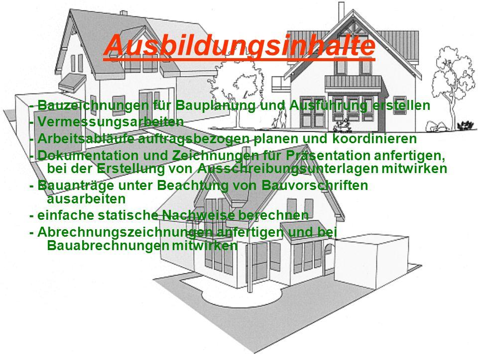 Ausbildungsinhalte - Bauzeichnungen für Bauplanung und Ausführung erstellen - Vermessungsarbeiten - Arbeitsabläufe auftragsbezogen planen und koordini