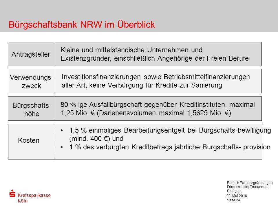 02. Mai 2016 Bereich Existenzgründungen/ Förderkredite/ Erneuerbare Energien Seite 24 Bürgschaftsbank NRW im Überblick Antragsteller Kleine und mittel