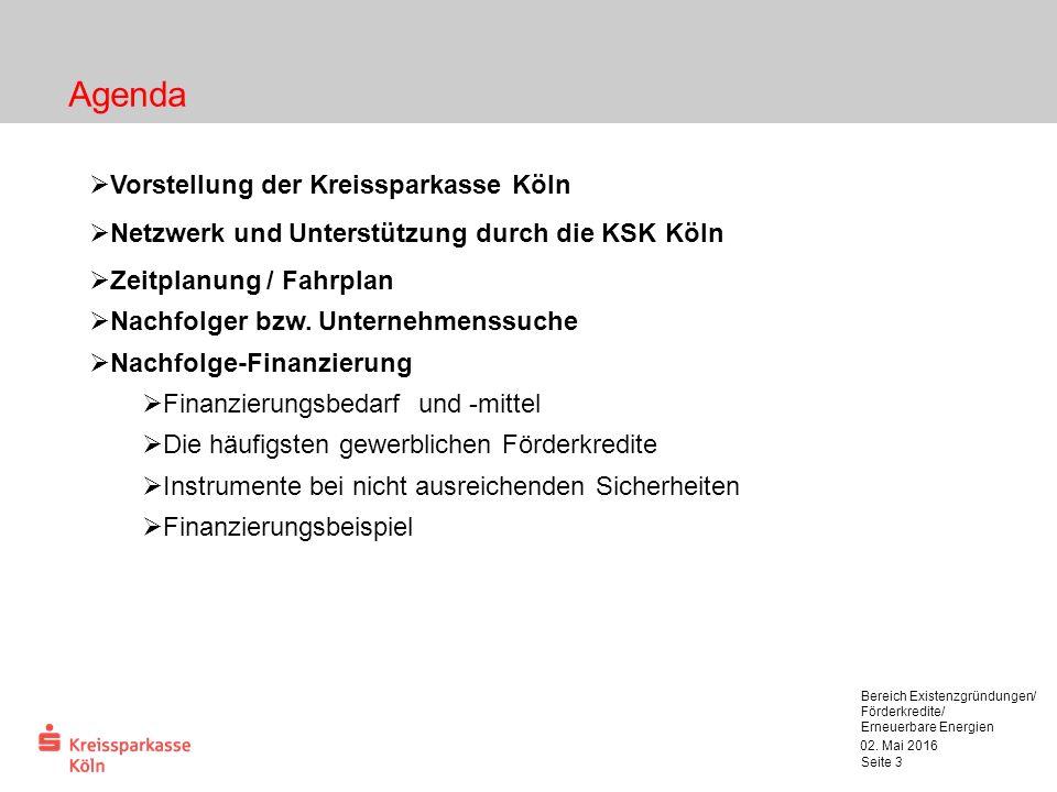 02. Mai 2016 Bereich Existenzgründungen/ Förderkredite/ Erneuerbare Energien Seite 3  Vorstellung der Kreissparkasse Köln  Netzwerk und Unterstützun