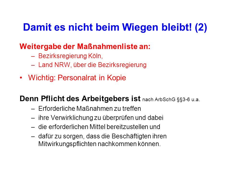 Damit es nicht beim Wiegen bleibt! (2) Weitergabe der Maßnahmenliste an: –Bezirksregierung Köln, –Land NRW, über die Bezirksregierung Wichtig: Persona
