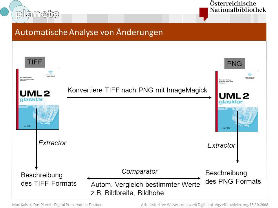 Max Kaiser, Das Planets Digital Preservation TestbedArbeitstreffen Wissensnetzwerk Digitale:Langzeitarchivierung, 15.10.2008 Konvertiere TIFF nach PNG