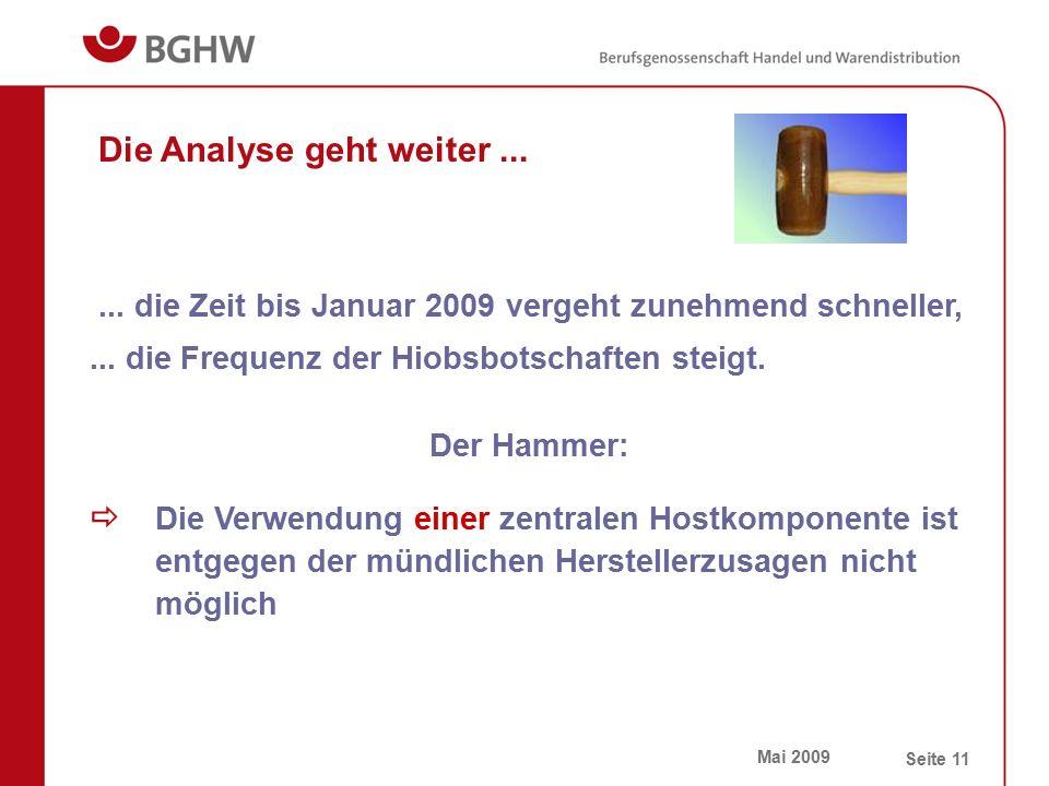 Mai 2009 Seite 11 Die Analyse geht weiter...  Die Verwendung einer zentralen Hostkomponente ist entgegen der mündlichen Herstellerzusagen nicht mögli