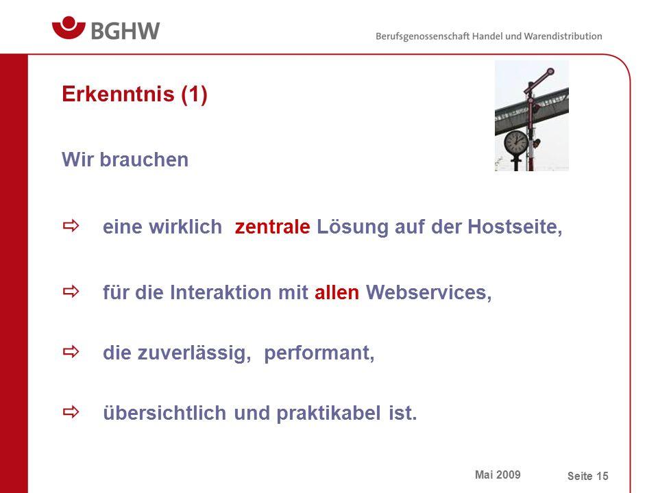 Mai 2009 Seite 15 Erkenntnis (1)  eine wirklich zentrale Lösung auf der Hostseite,  die zuverlässig, performant,  für die Interaktion mit allen Web