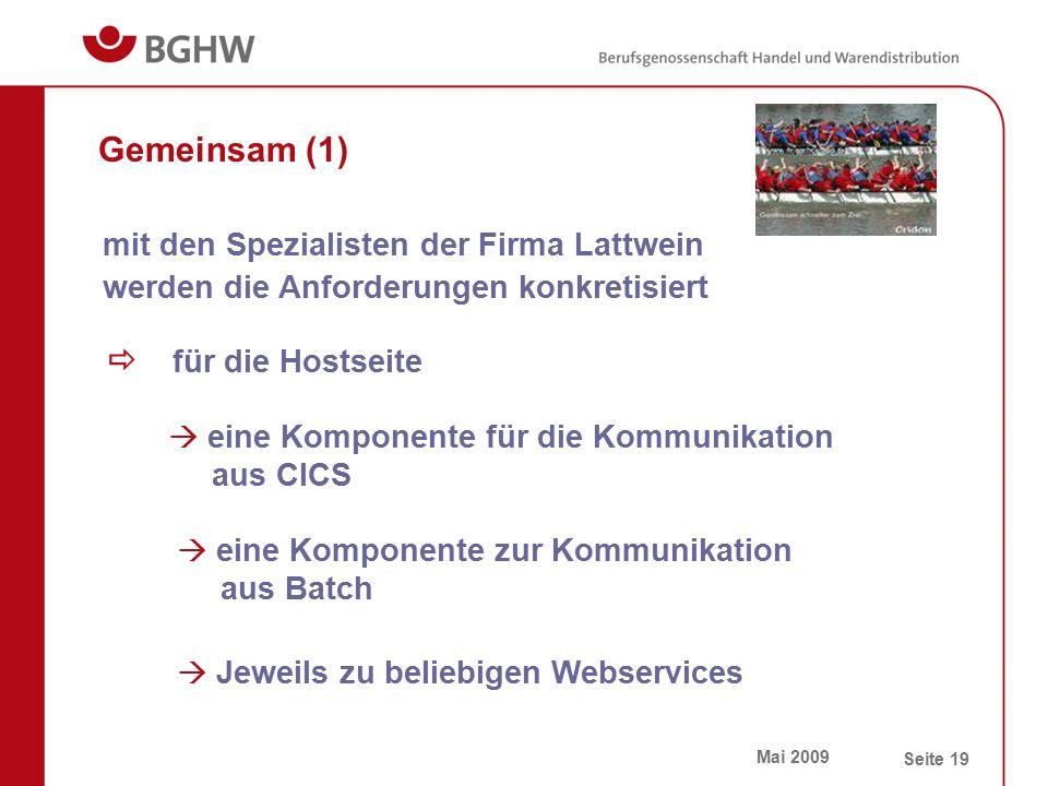 Mai 2009 Seite 19 Gemeinsam (1)  für die Hostseite mit den Spezialisten der Firma Lattwein werden die Anforderungen konkretisiert  eine Komponente f