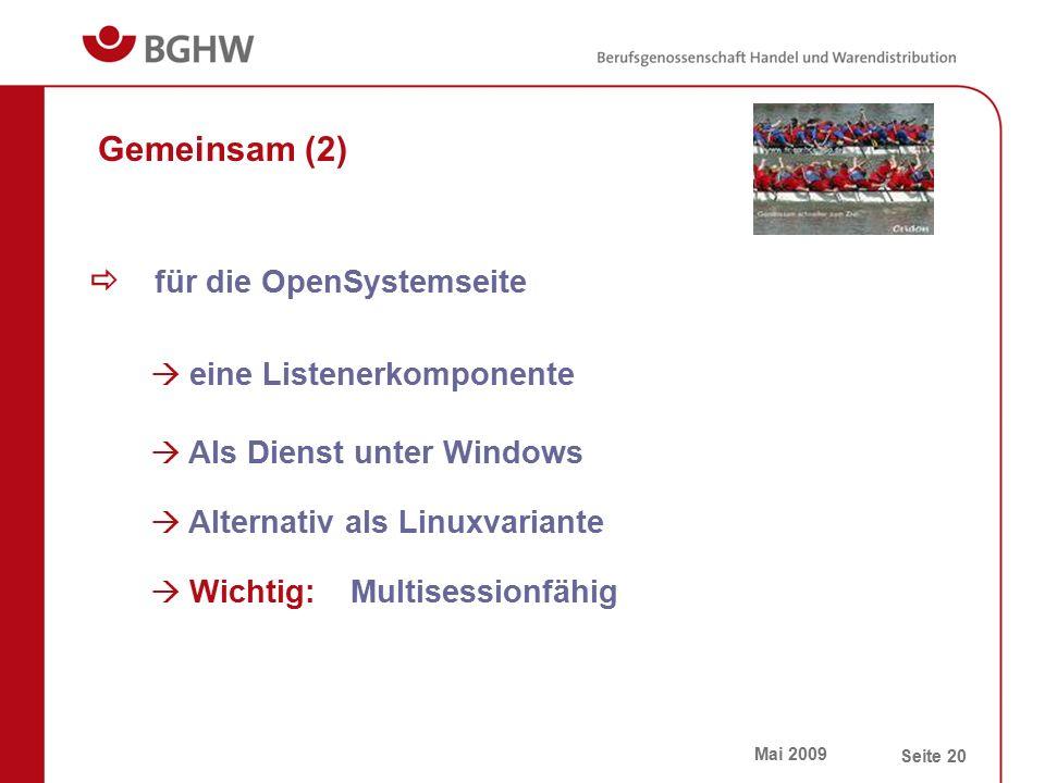 Mai 2009 Seite 20 Gemeinsam (2)  für die OpenSystemseite  eine Listenerkomponente  Als Dienst unter Windows  Alternativ als Linuxvariante  Wichti