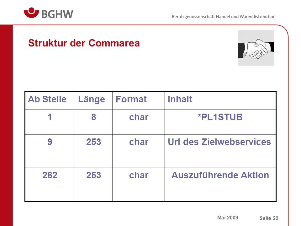 Mai 2009 Seite 22 Struktur der Commarea Ab StelleLängeFormatInhalt 18char*PL1STUB 9253charUrl des Zielwebservices 262253charAuszuführende Aktion