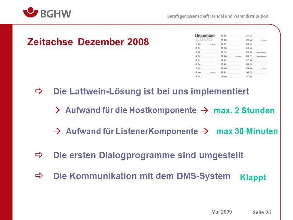 Mai 2009 Seite 25 Zeitachse Dezember 2008  Die Lattwein-Lösung ist bei uns implementiert  Aufwand für die Hostkomponente  max. 2 Stunden  Aufwand