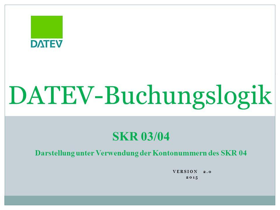 VERSION 2.0 2015 1 DATEV-Buchungslogik SKR 03/04 Darstellung unter Verwendung der Kontonummern des SKR 04