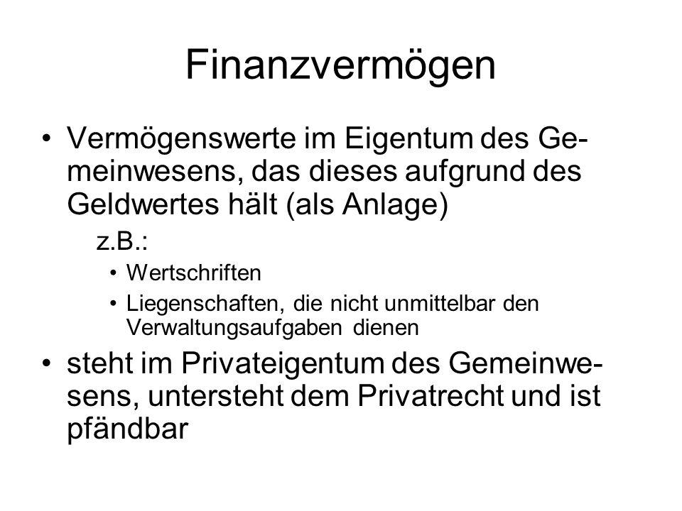Finanzvermögen Vermögenswerte im Eigentum des Ge- meinwesens, das dieses aufgrund des Geldwertes hält (als Anlage) z.B.: Wertschriften Liegenschaften, die nicht unmittelbar den Verwaltungsaufgaben dienen steht im Privateigentum des Gemeinwe- sens, untersteht dem Privatrecht und ist pfändbar
