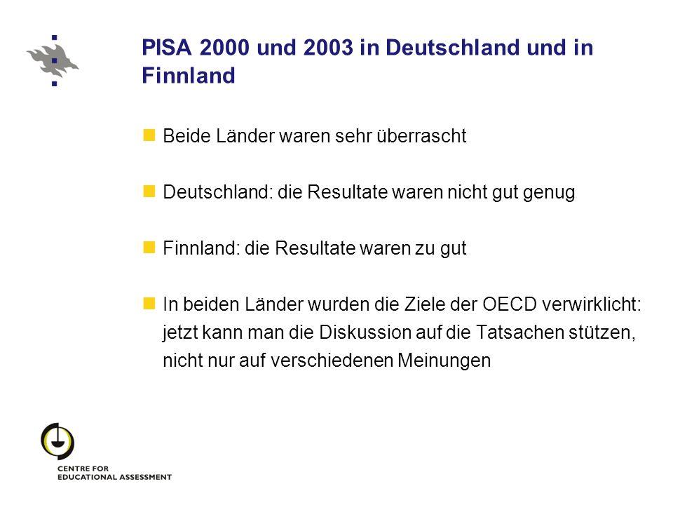 PISA 2000 und 2003 in Deutschland und in Finnland Beide Länder waren sehr überrascht Deutschland: die Resultate waren nicht gut genug Finnland: die Re