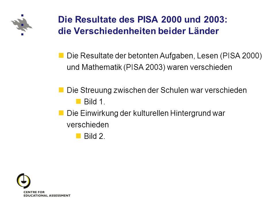 Die Resultate des PISA 2000 und 2003: die Verschiedenheiten beider Länder Die Resultate der betonten Aufgaben, Lesen (PISA 2000) und Mathematik (PISA