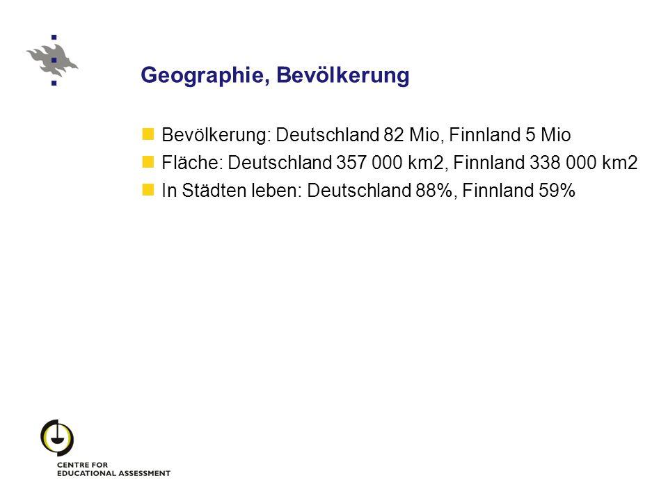 Geographie, Bevölkerung Bevölkerung: Deutschland 82 Mio, Finnland 5 Mio Fläche: Deutschland 357 000 km2, Finnland 338 000 km2 In Städten leben: Deutsc