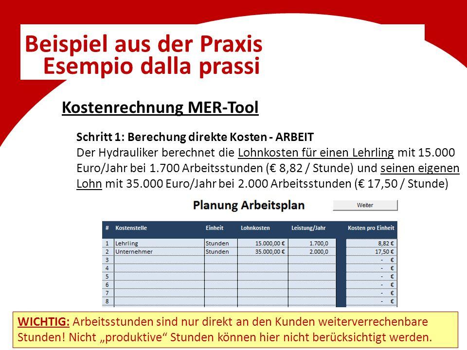 Beispiel aus der Praxis Esempio dalla prassi Schritt 1: Berechung direkte Kosten - ARBEIT Der Hydrauliker berechnet die Lohnkosten für einen Lehrling mit 15.000 Euro/Jahr bei 1.700 Arbeitsstunden (€ 8,82 / Stunde) und seinen eigenen Lohn mit 35.000 Euro/Jahr bei 2.000 Arbeitsstunden (€ 17,50 / Stunde) Kostenrechnung MER-Tool WICHTIG: Arbeitsstunden sind nur direkt an den Kunden weiterverrechenbare Stunden.