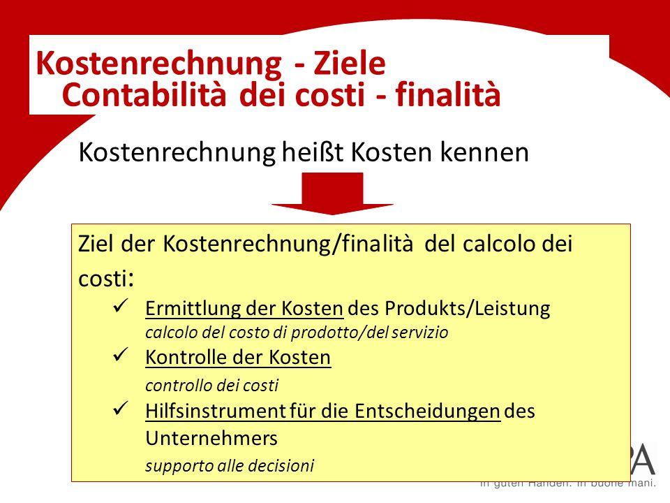 Kostenrechnung - Ziele Kostenrechnung heißt Kosten kennen Ziel der Kostenrechnung/finalità del calcolo dei costi : Ermittlung der Kosten des Produkts/