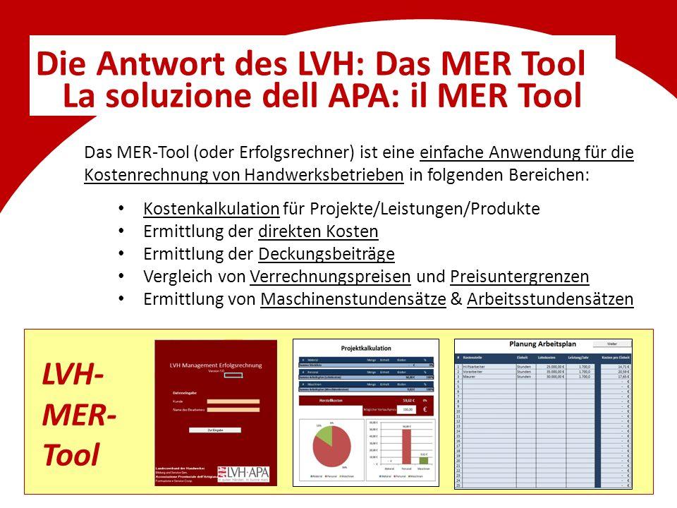 Die Antwort des LVH: Das MER Tool La soluzione dell APA: il MER Tool Das MER-Tool (oder Erfolgsrechner) ist eine einfache Anwendung für die Kostenrech