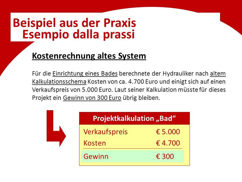 Beispiel aus der Praxis Esempio dalla prassi Kostenrechnung altes System Für die Einrichtung eines Bades berechnete der Hydrauliker nach altem Kalkulationsschema Kosten von ca.