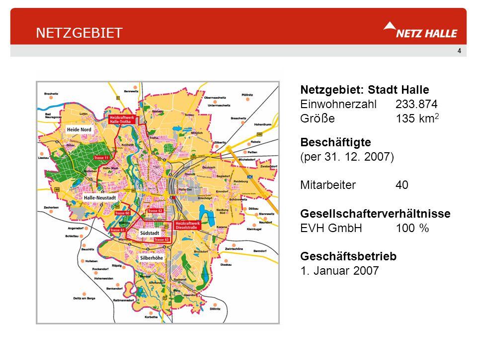 4 NETZGEBIET Netzgebiet: Stadt Halle Einwohnerzahl233.874 Gr öß e135 km 2 Beschäftigte (per 31. 12. 2007) Mitarbeiter40 Gesellschafterverhältnisse EVH