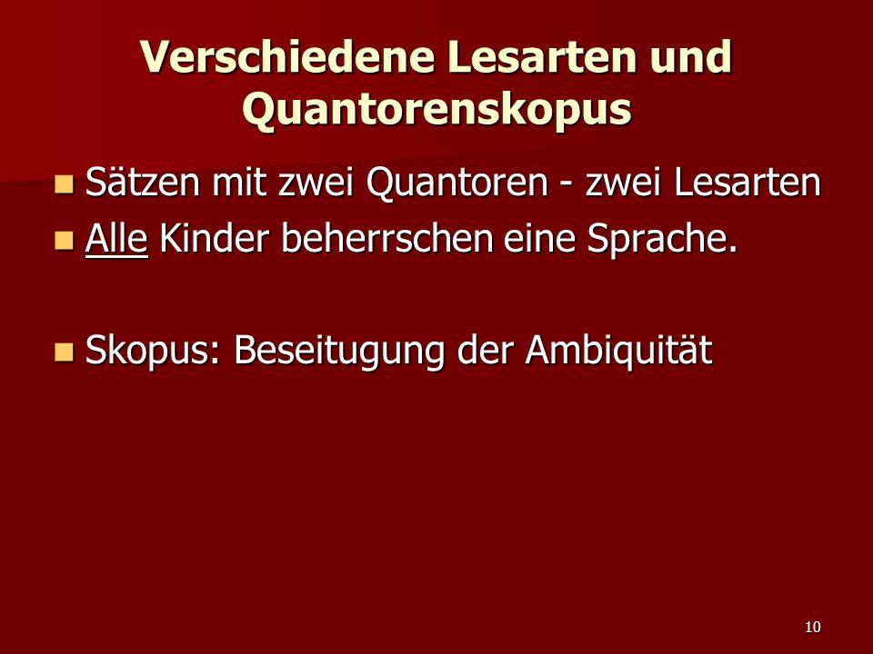 10 Verschiedene Lesarten und Quantorenskopus Sätzen mit zwei Quantoren - zwei Lesarten Sätzen mit zwei Quantoren - zwei Lesarten Alle Kinder beherrschen eine Sprache.