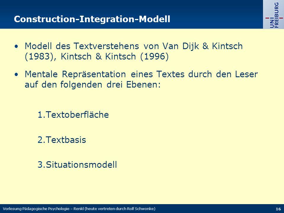 Vorlesung Pädagogische Psychologie – Renkl (heute vertreten durch Rolf Schwonke) 16 Construction-Integration-Modell Modell des Textverstehens von Van Dijk & Kintsch (1983), Kintsch & Kintsch (1996) Mentale Repräsentation eines Textes durch den Leser auf den folgenden drei Ebenen: 1.Textoberfläche 2.Textbasis 3.Situationsmodell