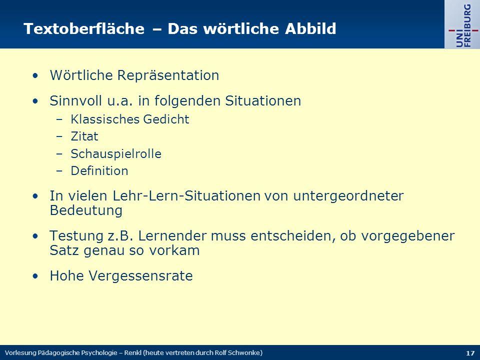 Textoberfläche – Das wörtliche Abbild Wörtliche Repräsentation Sinnvoll u.a.