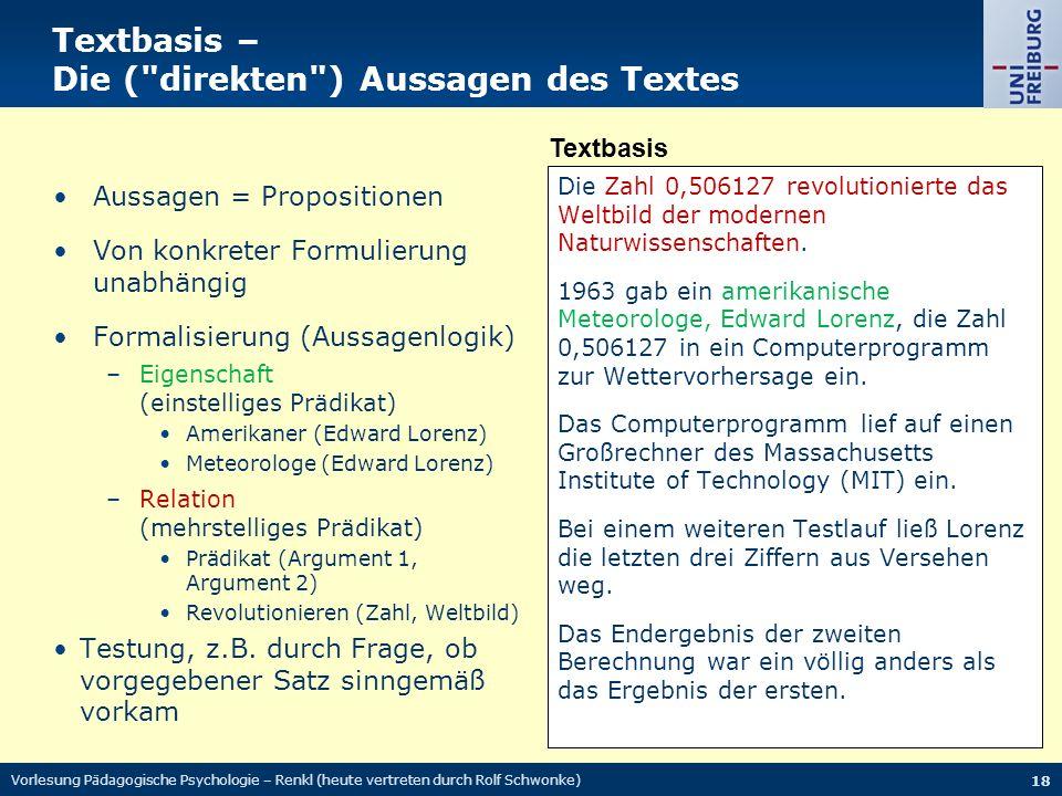 Textbasis – Die ( direkten ) Aussagen des Textes Die Zahl 0,506127 revolutionierte das Weltbild der modernen Naturwissenschaften.