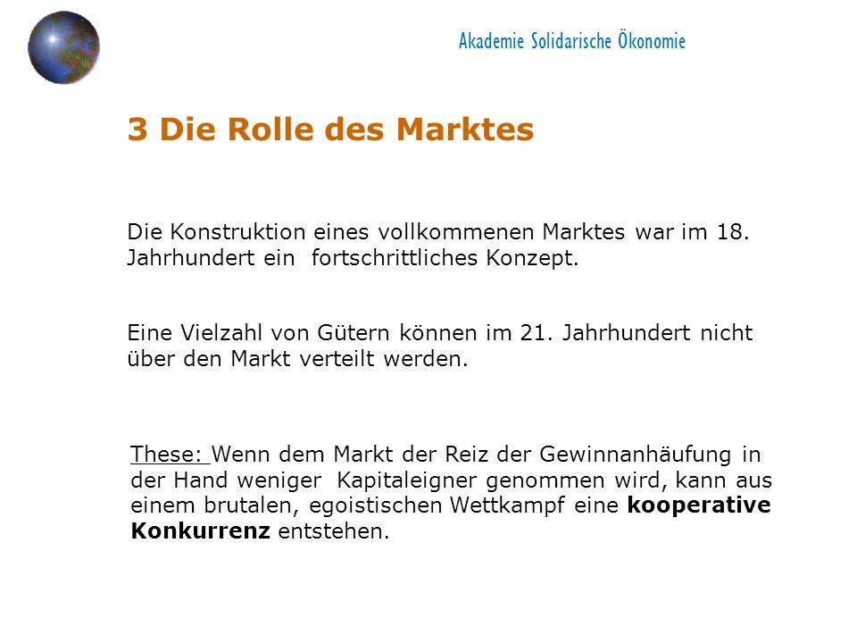 3 Die Rolle des Marktes Die Konstruktion eines vollkommenen Marktes war im 18.