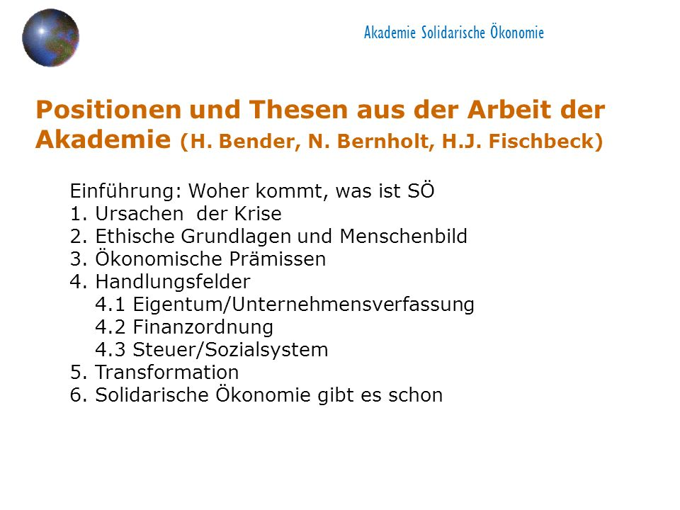 Akademie Solidarische Ökonomie Positionen und Thesen aus der Arbeit der Akademie (H.