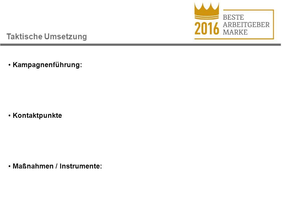 Taktische Umsetzung Kampagnenführung: Kontaktpunkte Maßnahmen / Instrumente: