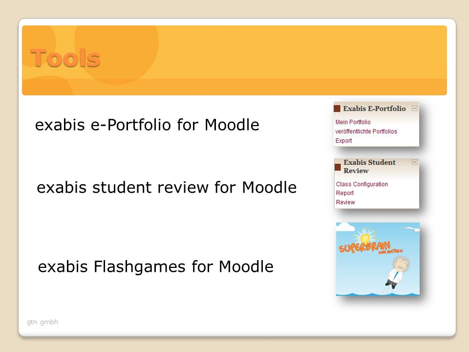 gtn gmbh exabis student review for Moodle exabis e-Portfolio for Moodle exabis Flashgames for Moodle Tools