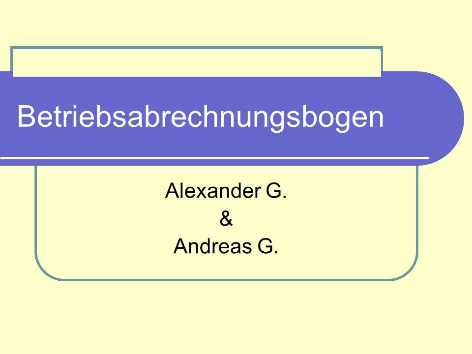 Betriebsabrechnungsbogen Alexander G. & Andreas G.