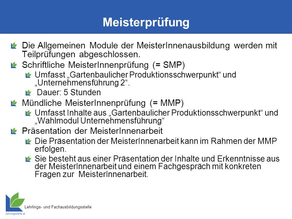 Lehrlings- und Fachausbildungsstelle Meisterprüfung Die Allgemeinen Module der MeisterInnenausbildung werden mit Teilprüfungen abgeschlossen.