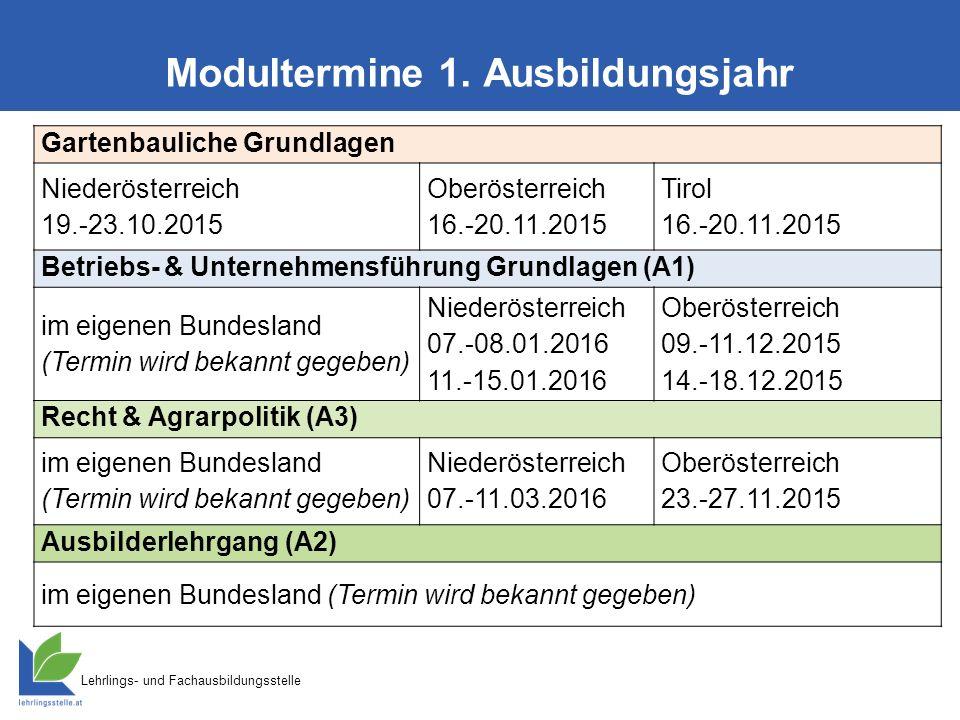 Lehrlings- und Fachausbildungsstelle Modultermine 1. Ausbildungsjahr Gartenbauliche Grundlagen Niederösterreich 19.-23.10.2015 Oberösterreich 16.-20.1