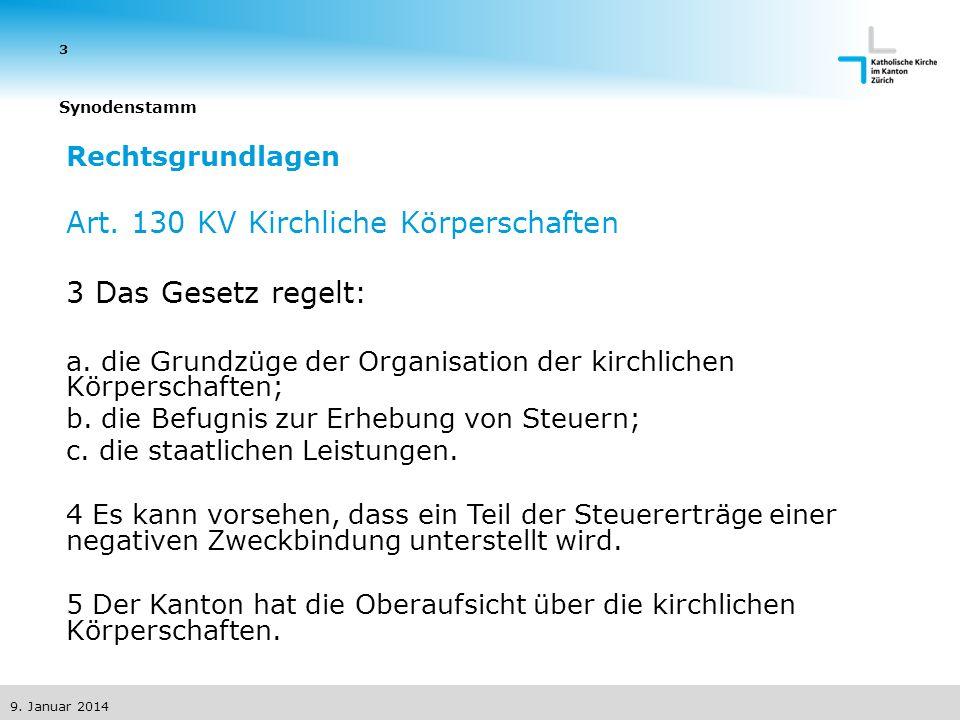 9. Januar 2014 3 Synodenstamm Rechtsgrundlagen Art.