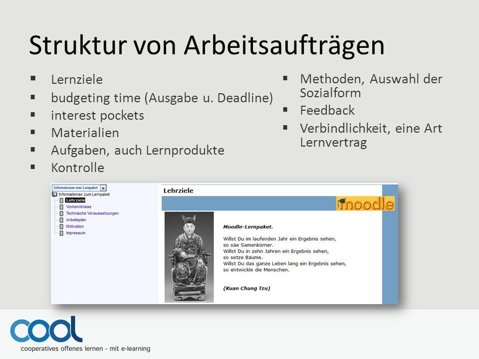 Struktur von Arbeitsaufträgen  Lernziele  budgeting time (Ausgabe u.