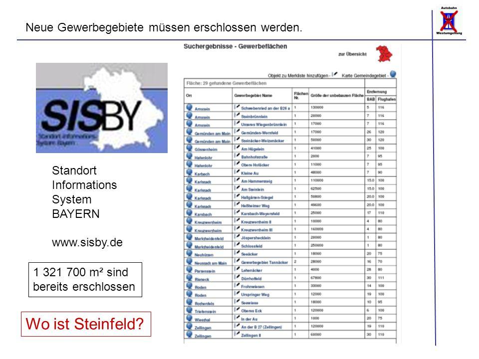 Neue Gewerbegebiete müssen erschlossen werden. Standort Informations System BAYERN www.sisby.de 1 321 700 m² sind bereits erschlossen Wo ist Steinfeld