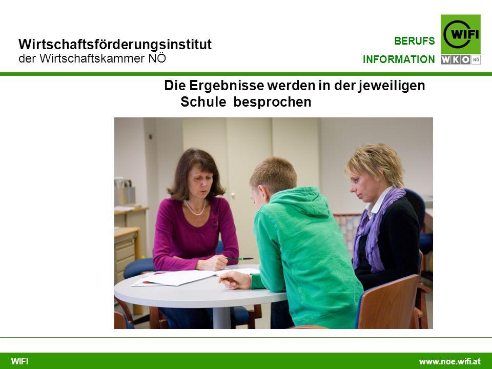 WIFI www.noe.wifi.at Wirtschaftsförderungsinstitut der Wirtschaftskammer NÖ BERUFS INFORMATION Die Ergebnisse werden in der jeweiligen Schule besprochen