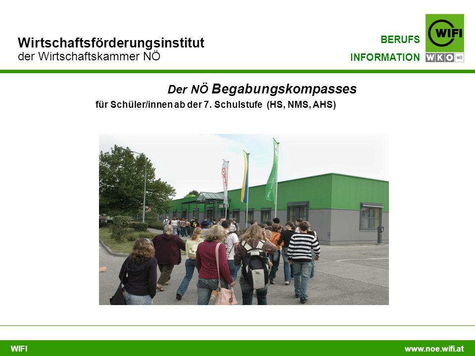WIFI www.noe.wifi.at Wirtschaftsförderungsinstitut der Wirtschaftskammer NÖ BERUFS INFORMATION Der NÖ Begabungskompasses für Schüler/innen ab der 7.