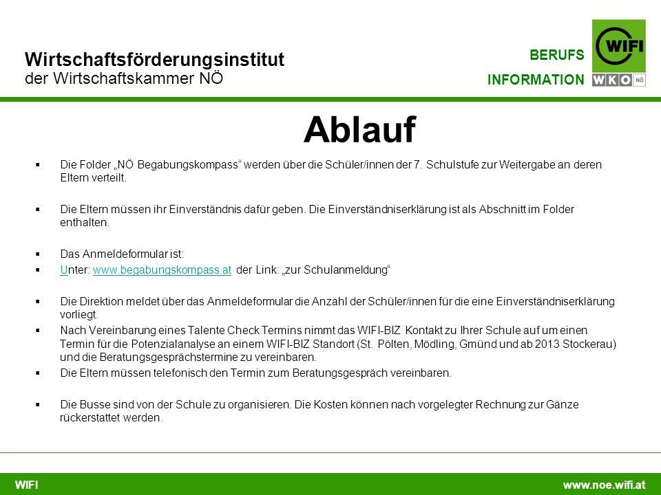 """WIFI www.noe.wifi.at Wirtschaftsförderungsinstitut der Wirtschaftskammer NÖ BERUFS INFORMATION Ablauf  Die Folder """"NÖ Begabungskompass"""" werden über d"""